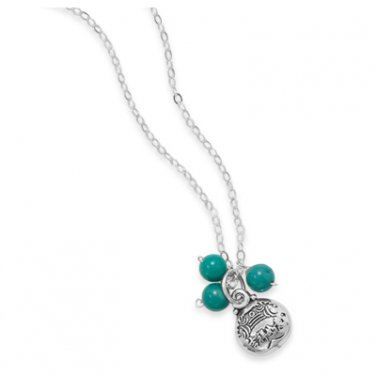 "Turquoise Bead Necklace with ""Good Luck"" Charm"