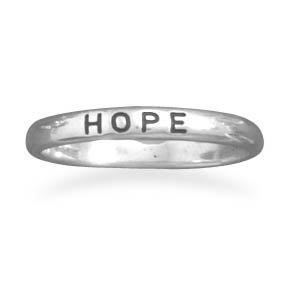 "Oxidized ""Hope"" Band Ring"