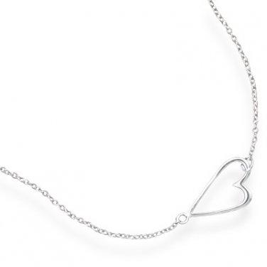 Sterling Silver Sideways Heart Necklace