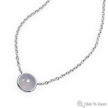 Freeform Faceted Blue Chalcedony Necklace