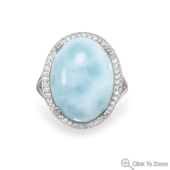 Large Oval Larimar and CZ Ring