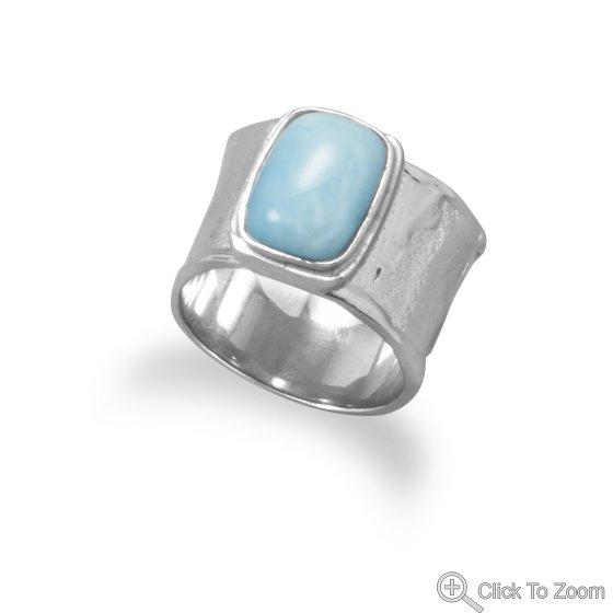 Textured Silver Larimar Ring