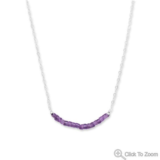 Amethyst Bead Necklace - February Birthstone