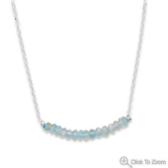 Faceted Aquamarine Bead Necklace � March Birthstone