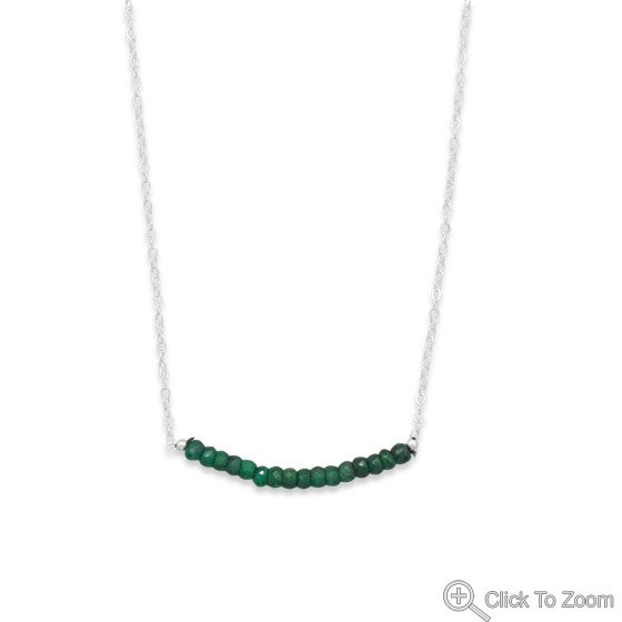 Faceted Emerald Bead Necklace - May Birthstone