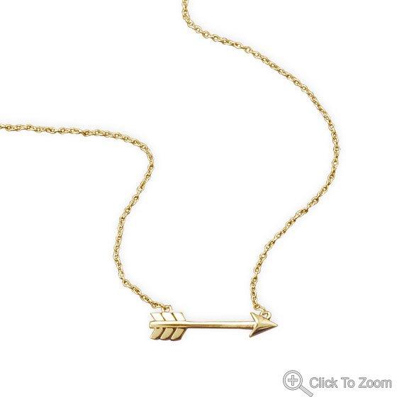 14 Karat Gold Plated Aim High Arrow Necklace