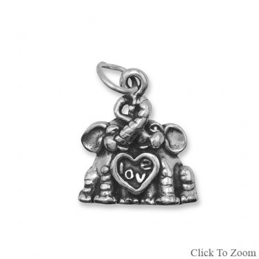 Sterling Silver Elephants in Love Charm