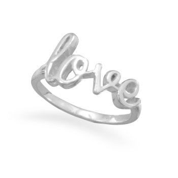 """Polished Sterling Silver Script """"love"""" Ring"""
