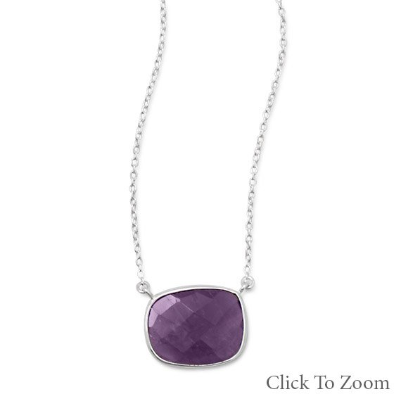 Faceted Oval Amethyst Necklace