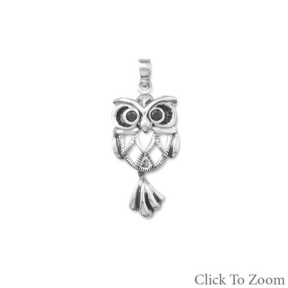 Oxidized Owl Pendant