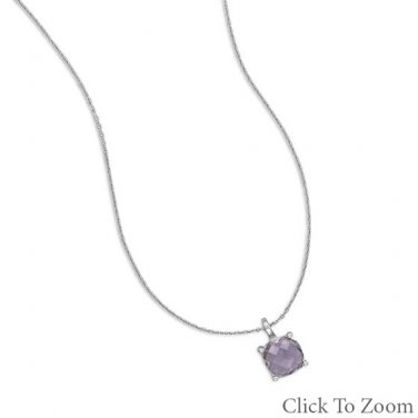 Cushion Cut Amethyst Necklace