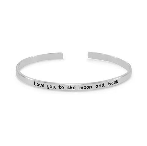 "Cuff Bracelet with ""Love you to the moon and back"""