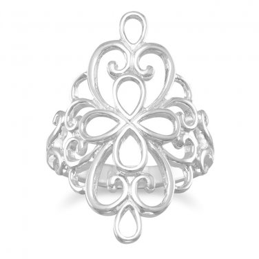 Ornate Filigree Design Silver Ring