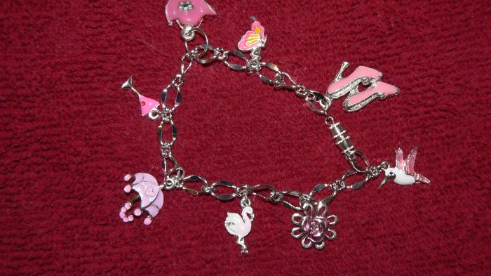 HANDMADE! Women's CHARM bracelet PINK & SILVER! FUN, Girly and PINK!