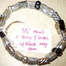Grey, silver & black magnetic hematite bracelet ONE OF A KIND! Men's or Women's