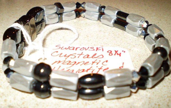 Men's or Women's grey, silver & black magnetic hematite bracelet