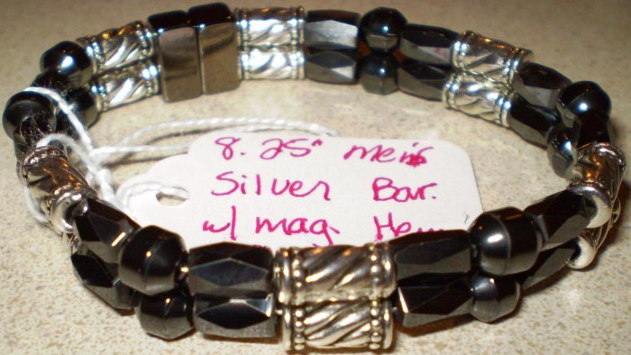 Men's or Women's silver & black magnetic hematite bracelet