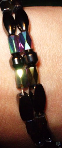 Magnetic hematite multi colored (rainbow/Iris) bracelet men's or woman's
