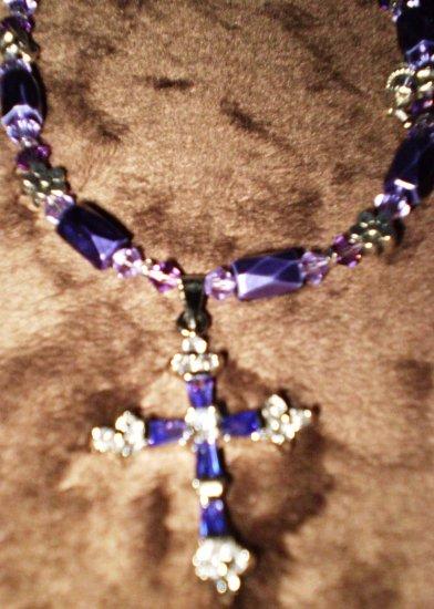 """Purple POWER! Georgous purple """"cross"""" necklace GENUINE SWAROVSKI CRYSTALS! 30 day warranty"""