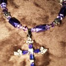 "Purple POWER! Georgous purple ""cross"" necklace GENUINE SWAROVSKI CRYSTALS! 30 day warranty"