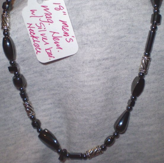 Men's or Women's black hematite necklace
