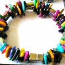 Georgous colorful mother of pearl magnetic hematite double bracelet
