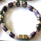 purple, black & silver double strand bracelet
