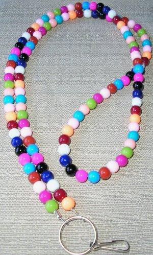 colorful! handbeaded glass id badge holder (lanyard)