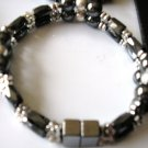 black & silver magnetic hematite double strand bracelet