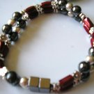 red, back & silver double strand magnetic hematite bracelet