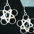 "Wire wrapped silver ""flower"" earrings avail with sterling silver hooks"