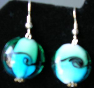 Black, Blue & Green glass earrings avail with sterling silver hooks