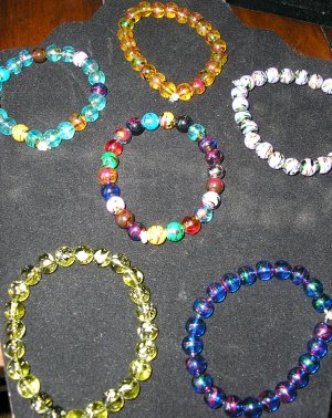 stretchy glass beaded bracelets pick your fav color or have one made