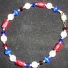 Red white & blue 4th of July bracelet Swarovski crystals, magnetic hematite & cats eye