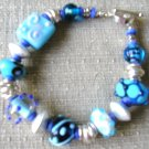 bracelet made with Lampwork beads in blues
