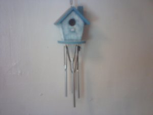 Blue and White Bird House Wind Charm