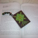 green abstract bookmark w/ glass beads & w/ bonus item!