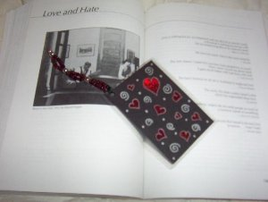 hearts and silver bookmark w/ silver beads