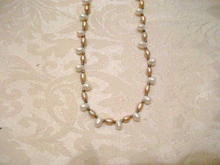 Beige and White Freshwater Pearl Necklace