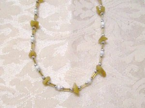 Beige Shell and white Necklace