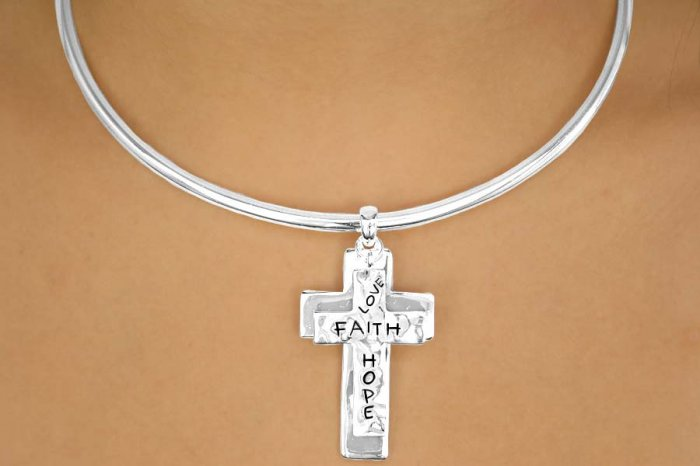 "Christian ""Love, Faith, Hope"" Choker with Matching Earrings"