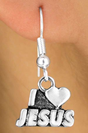 "Christian Sterling Silver- "" I Love Jesus"" Earrings"