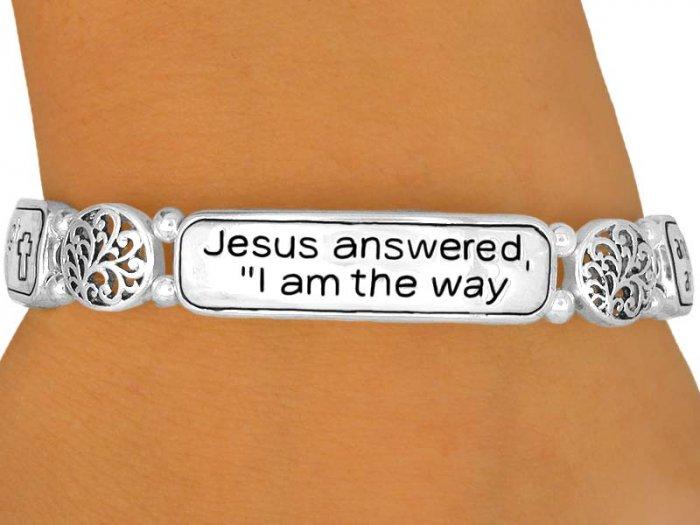 "Christian ""Jesus Answered"" Polished Silver Bracelet"