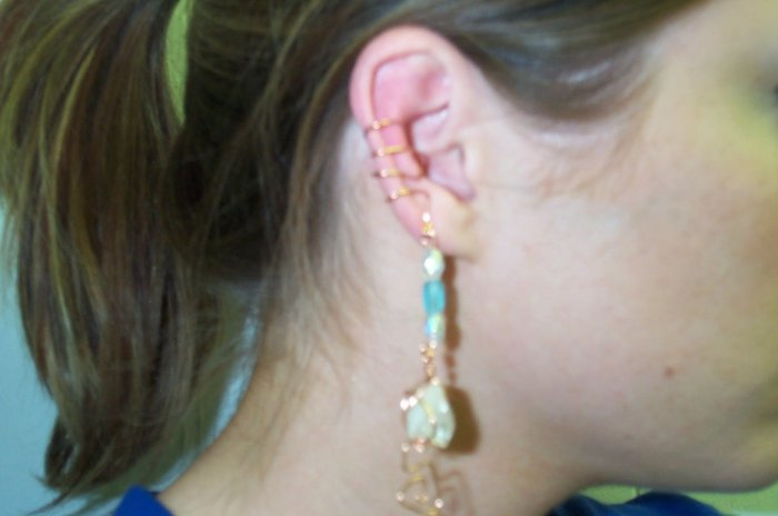 Quartz Crystal Copper Ear Cuff
