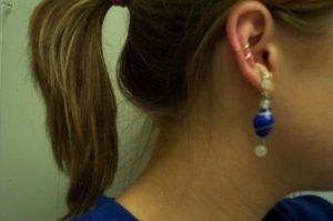 Vintage Blue Swirl Bead Ear Cuff