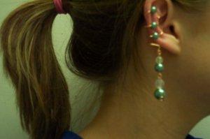 Green Pearl Ear Cuff