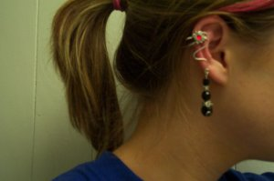 Vintage Black and Red Ear Cuff