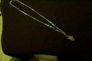 Quartz Crystal Blue Bead Silver Necklace