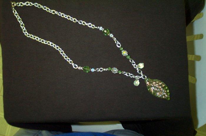 Green Glass Elven Leaf Necklace