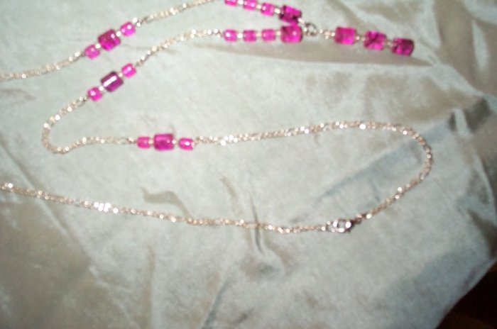 Long Pink Silver Dangle Necklace